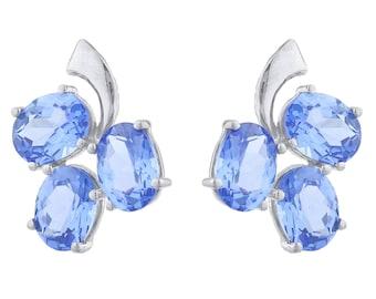 9 Ct Tanzanite Oval Shape Design Stud Earrings