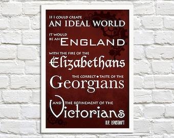 Steampunk Art Print Poster - An Ideal World - Lovecraft - Wall Decor, Inspirational Print, Home Decor, Lovecraft Gift