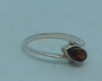 Petite Amber and Silver Ring