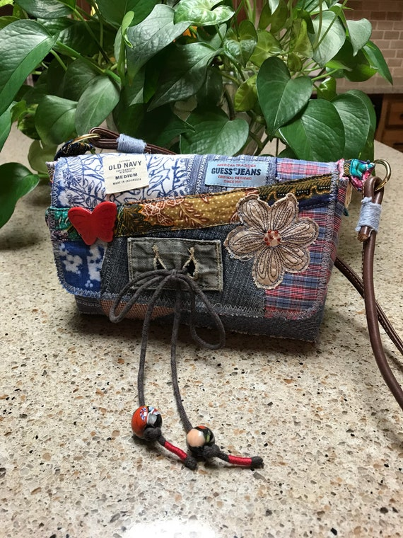 Handmade Blue Denim recycled patchwork small bohomian, hobo, boho, purse over the shoulder or crossbody bag, free shipping!