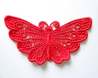 Butterfly lace Red 7 x 4 cm