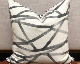 Black and white geometric pillow, charcoal geometric cushion, monochrome decor, animal print pillow, spotty cushion, modern decor, neutrals