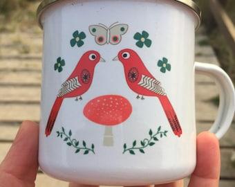 Enamel mug love bird folk mug