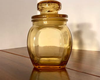 Vintage Small Amber Glass Container