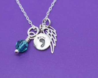Miscarry Gift - Memorial Necklace - Infant Loss - Miscarriage Jewelry - Miscarriage Gift - Baby Footprint  Necklace - Tiny Angel wing