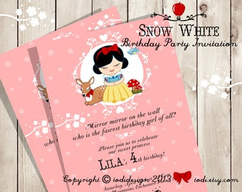 Little Princess Snow White Birthday Party Invitation - Printable digital file