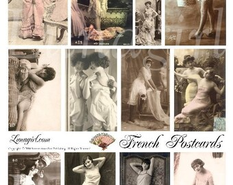 FRENCH POSTCARDS, digital collage sheet, vintage images, risque photos flappers women ladies, 1920s nudes, altered art tinted pink, DOWNLOAD