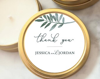 RESERVED x65 Wedding Favors, Gold Tin Custom Personalized Candles, Candle Wedding Favors, Mini Soy Candles, Shower, Party Favors, Botanical