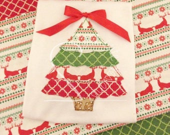 Rustic Christmas Tree Embroidered Applique - White Shirt 100% Cotton - MADE TO ORDER