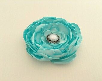 Aqua Flower Hair Clip.Aqua Flower Brooch.aqua Flower Pin.Headpiece.Bridesmaid.Aqua Satin Flower.aqua blue hair accessory.Aqua hair piece