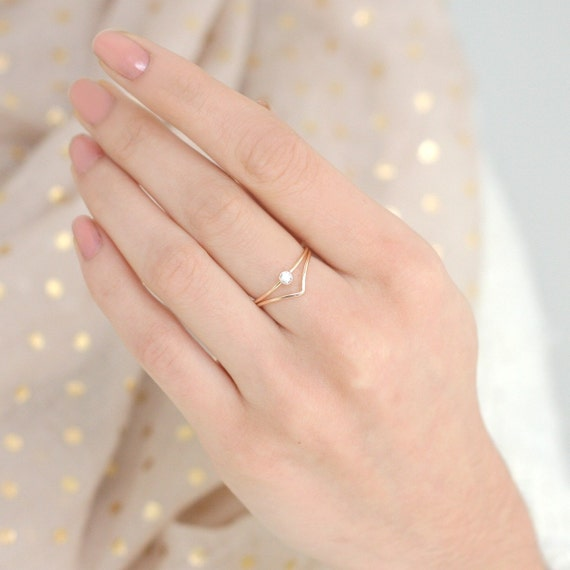 gold ring set of TWO chevron diamond ring gold filled
