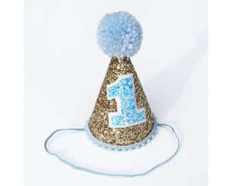 First Birthday Hat Blue | 1st Birthday | Baby birthday | photo prop smash cake hat | First Birthday party hat | Birthday photo shoot | boy