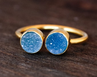 Dual Druzy Ring - Double Stone Ring - Icy Blue Druzy