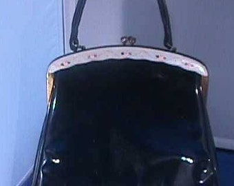 Vintage Patent Leather Black Purse with Hand Painted Roses at the top edge
