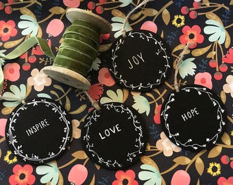 "Custom Calligraphy ""Love""/""Hope""/""Inspire""/""Joy""/ Wooden Chalkboard Gift Tags / Hang Tags"
