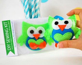 Felt Owl Sewing Kit, Owl Ornament, Felt Hand-Sewing Kit with PreCut Felt, Craft Felt Sewing Kit, Kid Sewing Kit, READY TO SHIP A793