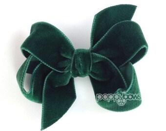 """Dark green velvet hair bow, 3"""" hair bow, Christmas hair bow, girls hair bows, velvet hair clips, velvet hair bows, baby hair bows, boutique"""