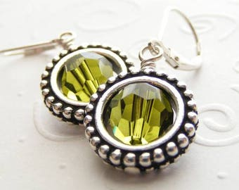 Steampunk Earrings Featuring Olive Green Swarovski Crystal and Round Frames on Sterling Silver Leverbacks. Circle. Peridot.