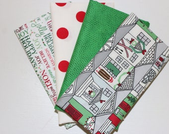 Christmas - 4 Fat Quarters - Red, Green, Gray - 100% cotton fabric