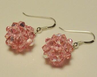 Light pink Swarovski Crystal Pearl ball earrings