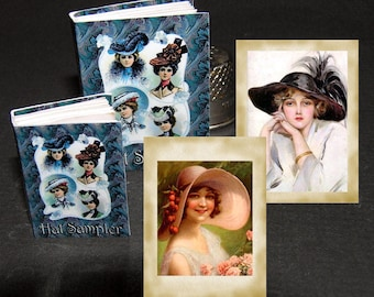 Book Hut Collection, ladies hat, Paperminis, Bastelkit of paper in miniature for the doll's parlor, Dollhouse Miniatures # 40021