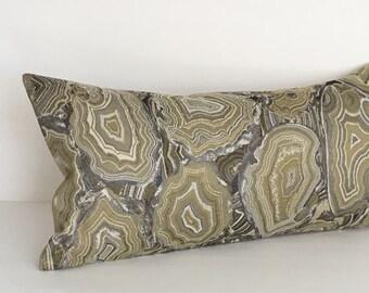 Lumbar Pillow Cover Agate Gold Pillow Grey Pillow Decorative Pillow Oblong Throw Pillow Cover 12x24 12x21 12x18 12x16 10x20
