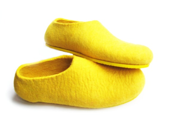 Yellow felted slippers wool shoes minimalist shoes house for Minimalist house slippers