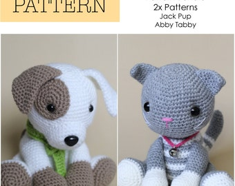Crochet Amigurumi Cat and Dog, PATTERNS ONLY Bundle, Special Offer, Stuffed Toy Pattern