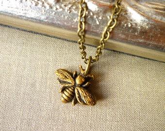 Bee Necklace - Gold Bee Charm necklace - Honey Bee - Queen Bee