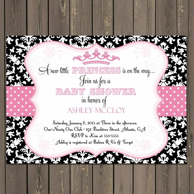 Princess Baby Shower Invitation Pink and Black Princess