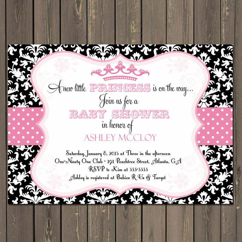 Princess Baby Shower Invitation Pink and Black Princess