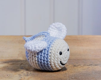 Organic cotton Bumble Bee soft baby rattle crochet toy - organic cotton - sky blue and vanilla