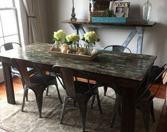 ON SALE!!!!!!! (Only one available at this price) Brown  with white Rustic Distressed top Farmhouse Table