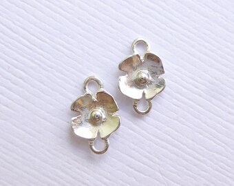 Sterling Silver Flowers... Poppy Connectors -- 2 Pieces