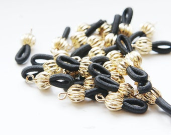 10pcs Bright Gold Tone with Black Elastic Eye Glass Holder - 18x7mm (07) (I-103H)