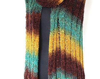 Extra Large Size Turquoise Green Blue Mustard Yellow Khaki Brown Sienna Lacy Ruana Knitted Stole Shawl Wrap with Fringe