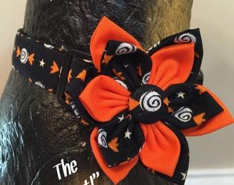 Dog Collar, Collar flower, Fall Dog Collar, Halloween Dog Collar, Black and orange, Halloween collar flower, autumn dog collar, candy