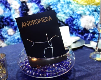 CONSTELLATION TABLE NUMBERS Hand Embossed Lines & Shadows Zodiac Signs Starry Night Wedding Astronomy Birthday Blue Shades of Silver Gray