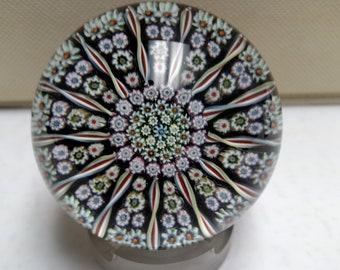 Perthshire Paperweight with Twisted Ribbons and Closely Packed Millefiori Canes