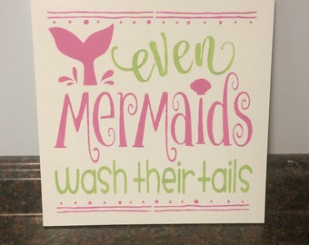 mermaid bathroom mermaid wall decor mermaid wall art mermaid sign pink and gray bathroom even mermaids wash their tails mermaid theme