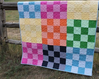 Colorful Gingham Checkerboard Quilt