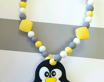 Penguin Teether Toy- Wood Teethers - Personalized Baby Shower Gift - Christmas Baby Teether - Unique Baby Shower Gift - Unique Baby Gift