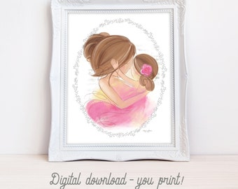 INSTANT DOWNLOAD Set of 2 Printable Art, Brunette Mother and Daughter, Girl's Room Decor, Child's Room Wall Art Print Gift