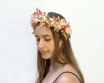 Valentine Pink And Gold Leaf Flower Crown, Gold Leaf and Flower Headband, Gold Leaf Crown, Goddess Headpiece, Gold Crown, Fairy Crown, Fae