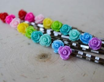 Rose hair pins, colorful hair pins, hair pins, flower hair pins