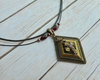 Antique bronze pendant with cross charm brown leather necklace Victorian Gothic inspired ladies jewelery handmade jewelry unique gift