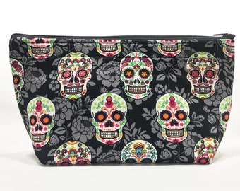 Sugar Skulls Go Bag // Makeup Bag // Cosmetic Organizer // Travel Organizer // Toiletry Organizer // Ready To Ship
