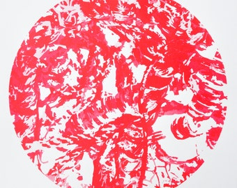 Red silk screen print, red wall art, red print, nature silk screen print, red wall art, abstract home decor