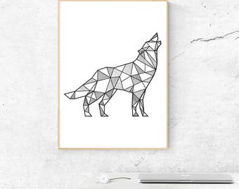 Wolf Wall Art, Geometric Wolf Print, Wolf Wall Decor, Boho Decor, Minimalist Wolf Print, Wildlife Animals, Geometric Animals, Animal Decor