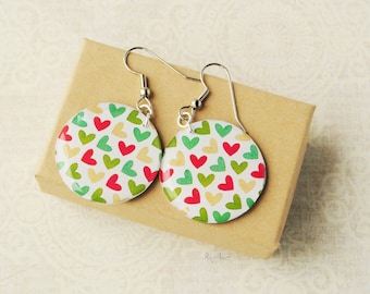 Hearts earrings  - red mint green resin earrings, resin jewelry, hearts earrings, bright earrings, Valentine's day print - ready to ship